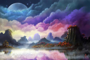 Moon over Landscape by jjpeabody