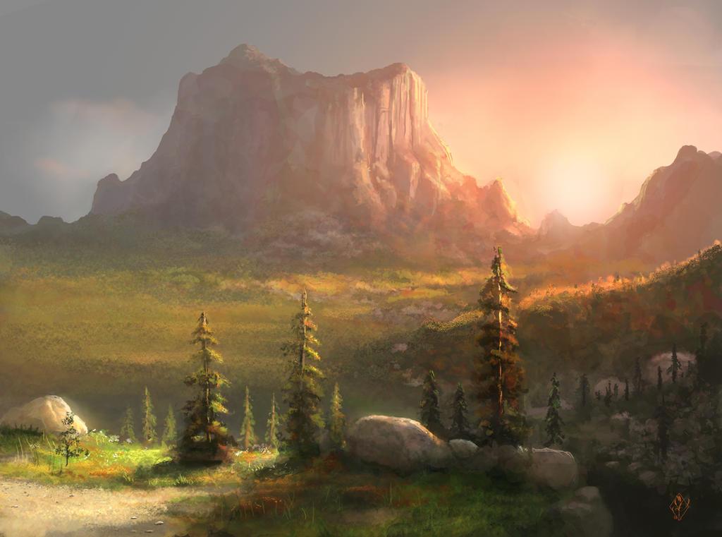 Setting Sun Over Mountain Landscape by jjpeabody