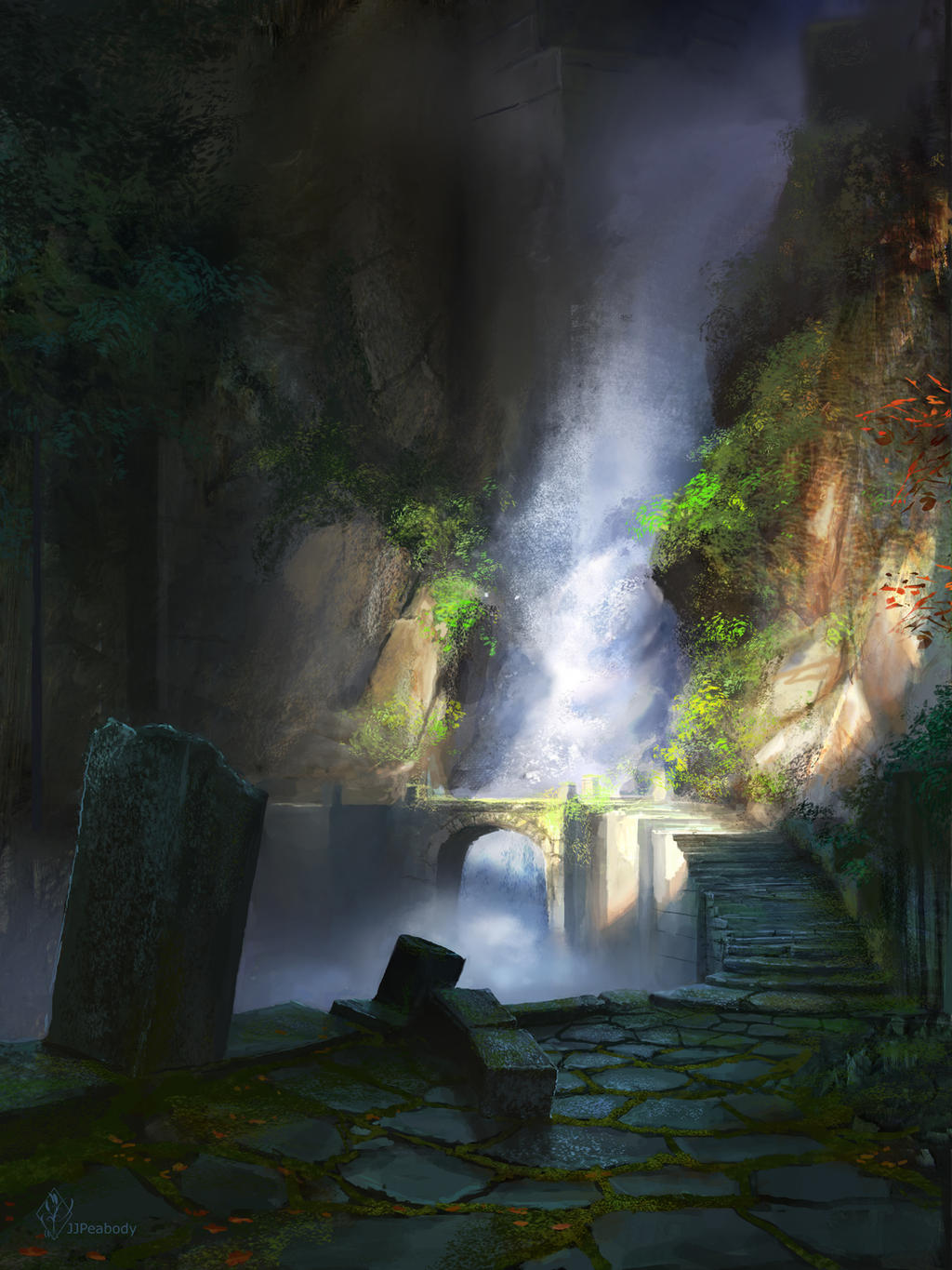 Ancient Waterfall Ruins by jjpeabody