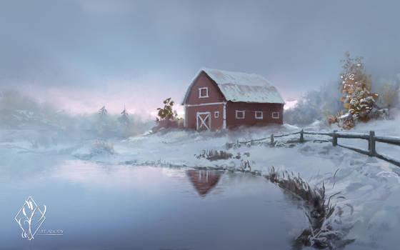 Vermont Farm Pond Winter