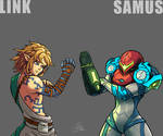 Link and Samus compare their Glow  GREY