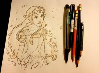 Zelda Sketch by pixonsalvaje