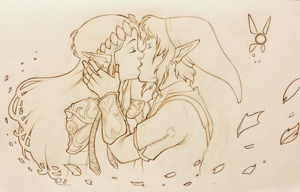 Zelda and Link kiss by pixonsalvaje