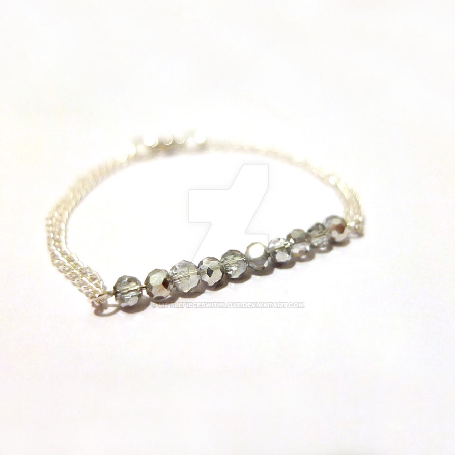 minimal silver crystal beaded bracelet by