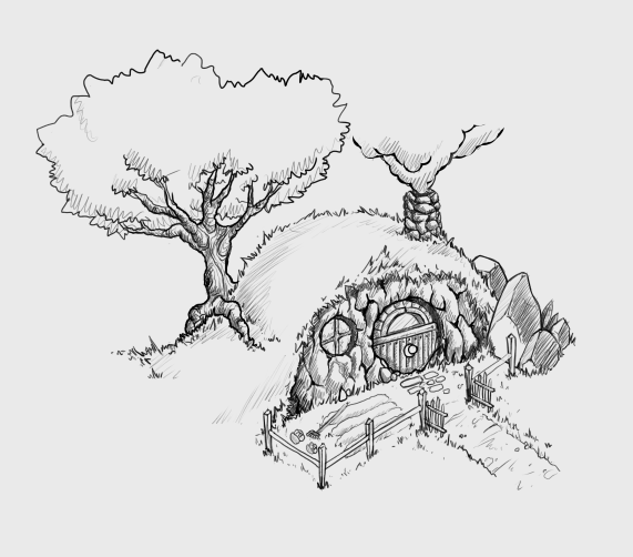 Hobbit hole 1 by kaleponi on deviantart for Hobbit house drawings