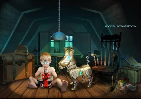 In the attic