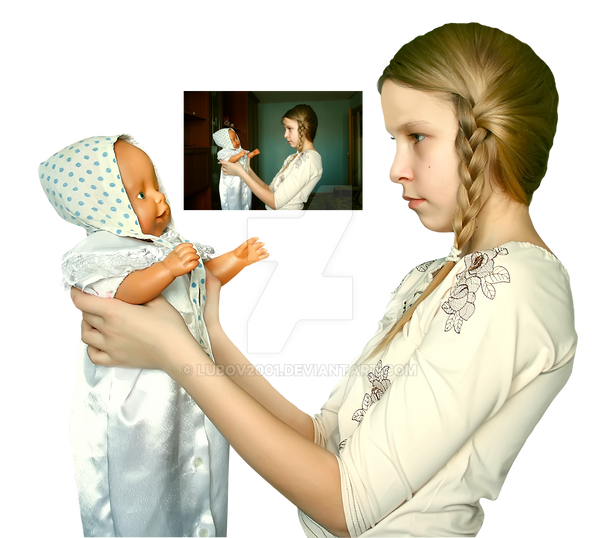 Girl and doll PNG by Lubov2001
