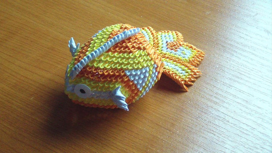 3d origami mini koi fish by girnelis on deviantart for Miniature koi fish