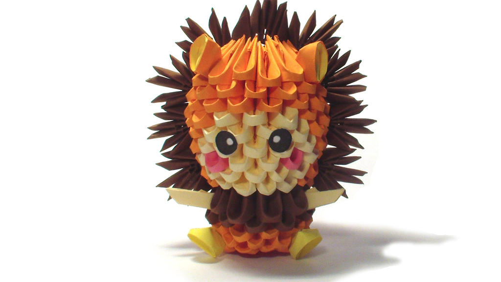3D origami lion kid by Girnelis