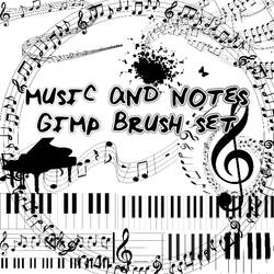 Music Notes Gimp Brush Set by stormingdance