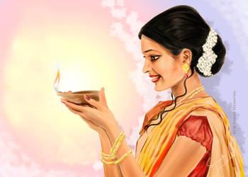 Deewali - Digital Drawing by Senarath D by senarath
