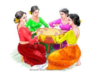 Sinhala Girls Playing Raban by senarath