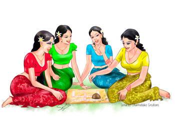 Sinhala Girls Playing Pancha by senarath