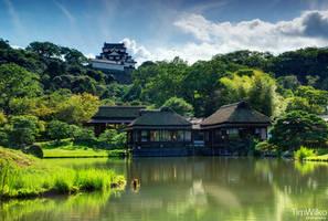 Hikone Castle from Genkyu-en by Tim-Wilko