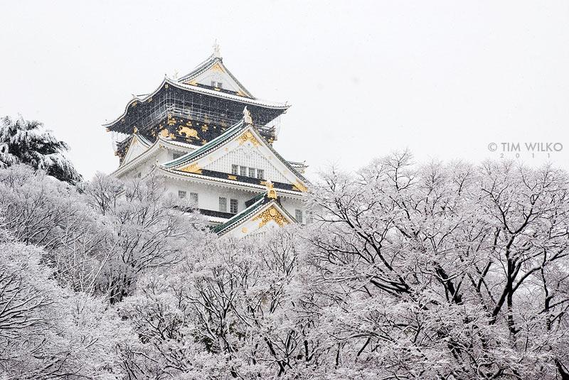 Osaka Castle in the snow by Tim-Wilko