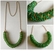 Green Spiral And Chain Necklace