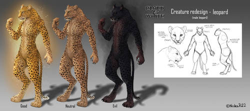 Black and White Creatures Redesign - Leopard by NokaRi22