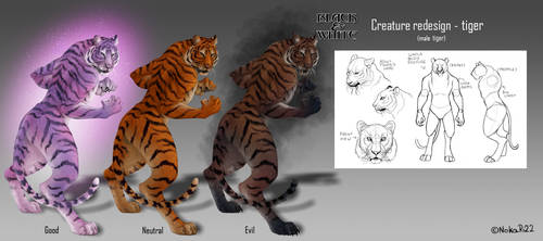 Black and White Creatures Redesign - Tiger by NokaRi22