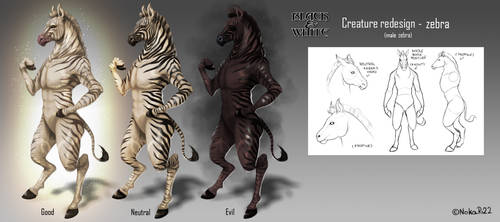 Black and White Creatures Redesign - Zebra by NokaRi22