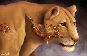 [Crystal Felines 1/5] - Citrine Lioness by NokaRi22