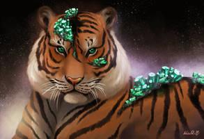 [Crystal Felines 3/5] - Emerald Tigress by NokaRi22