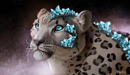 [Crystal Felines 4/5] - blue quartz snow leopard by NokaRi22