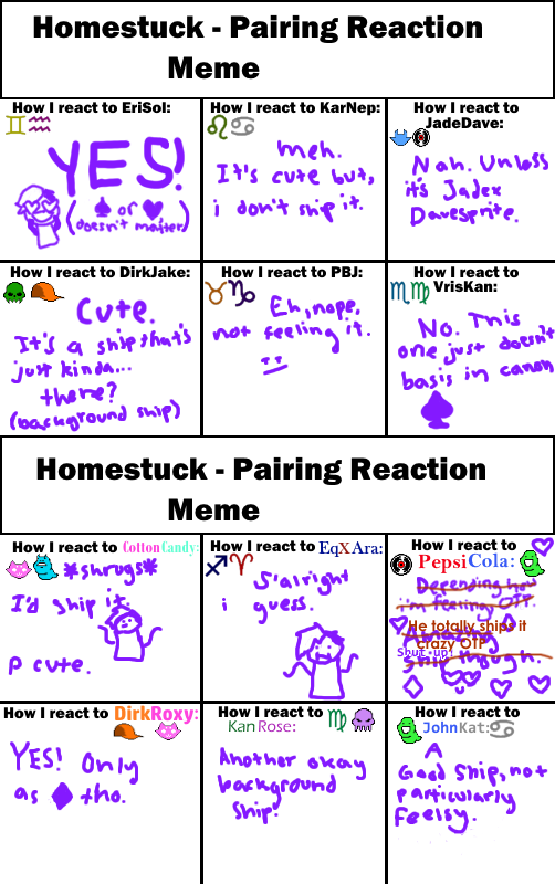 homestuck pairing reaction meme by jult840 on deviantart. Black Bedroom Furniture Sets. Home Design Ideas