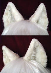 White Realistic Wolf Ears by TheGuardianDragon