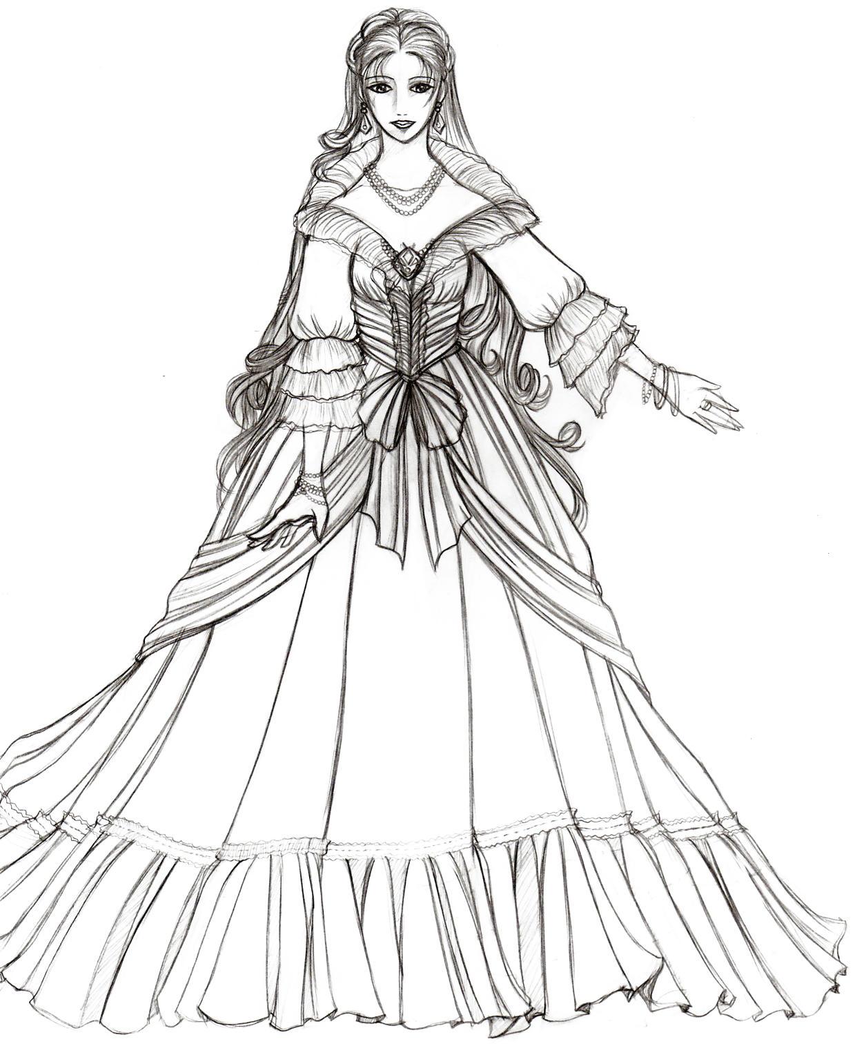 Renaissance Princess Coloring Pages : Renaissance princess coloring pages