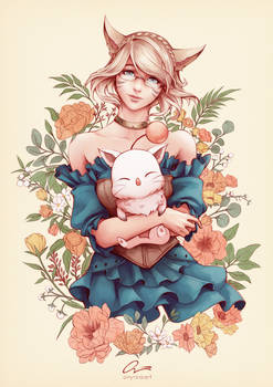 A girl and her kupo - [ FFXIV Commission ]