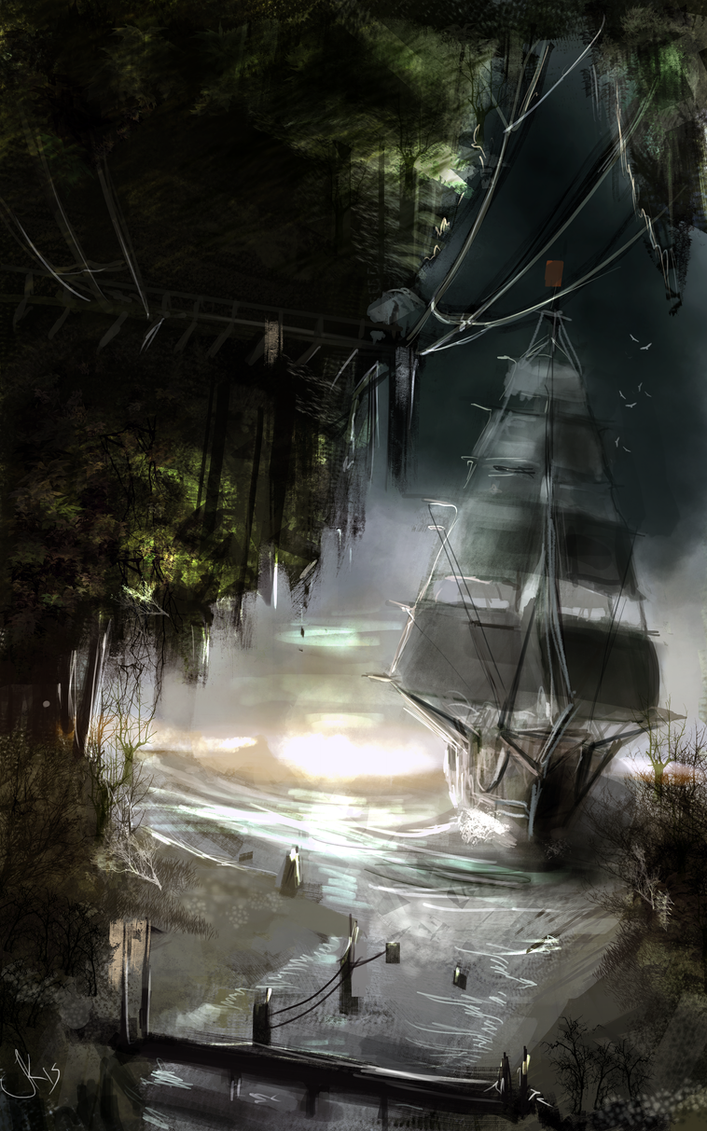 150116 - Frigate Arriving at Dawn by Jack-Kaiser