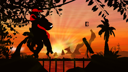 Donkey and Diddy Kong in Sunset Oasis [Render]