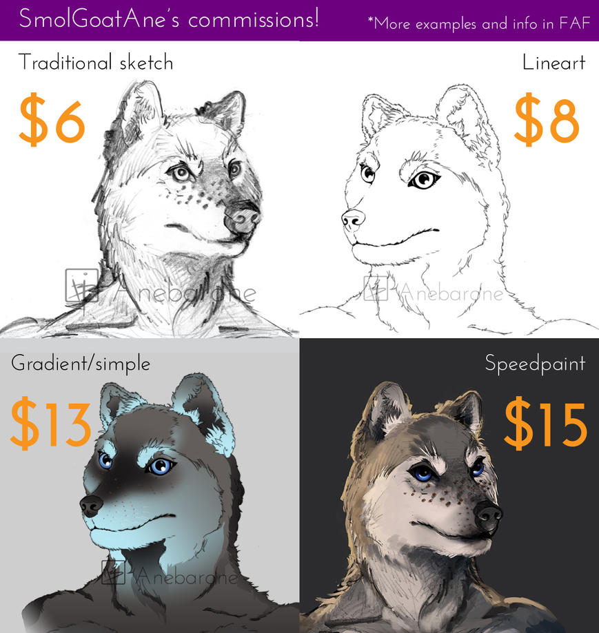 Furry Headshot Commissions by PygmyGoats