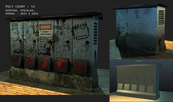 Low poly 3d game asset -Electro box