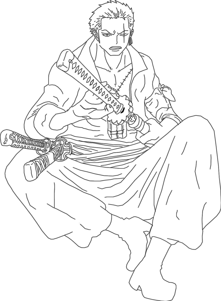 New roronoa zoro lineart by smangellville on deviantart for Zoro coloring pages