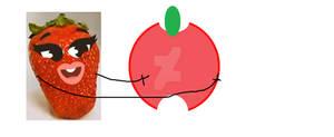 Strawberry Doodland hugging an apple