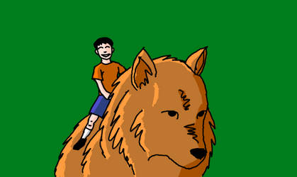 A Kid and his Giant Dog-Wolf