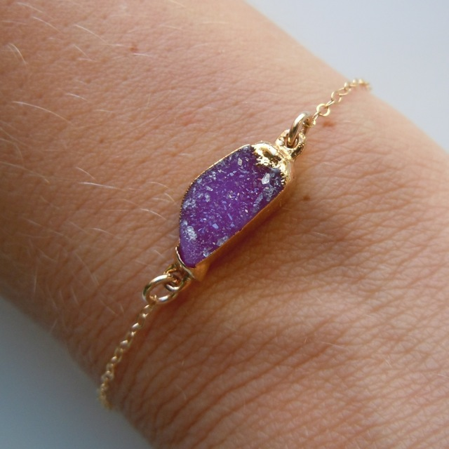 Druzy Bracelet in Plum Purple by 443Jewelry
