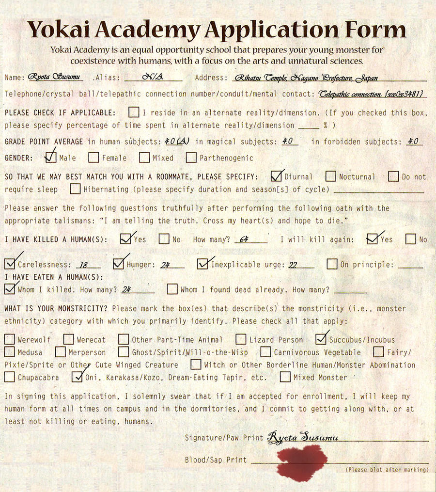 Yokai Academy Application Form by iShinigami