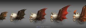 Spooky demon skulls