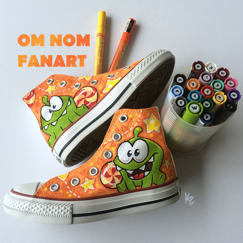OM NOM custom hand painted shoes by Beffana