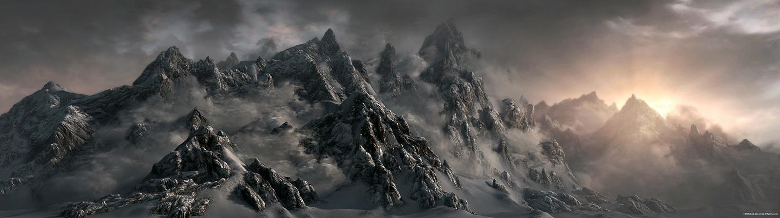 Skyrim Mountains by Minnan2