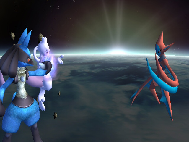 Mewtwo,Lucario vs deoxys by codeworddurtbagbeep on DeviantArt