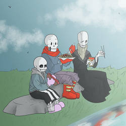 Picnic with the skeletons family by Mr-poule
