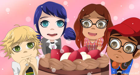 Chibis friends and this cake