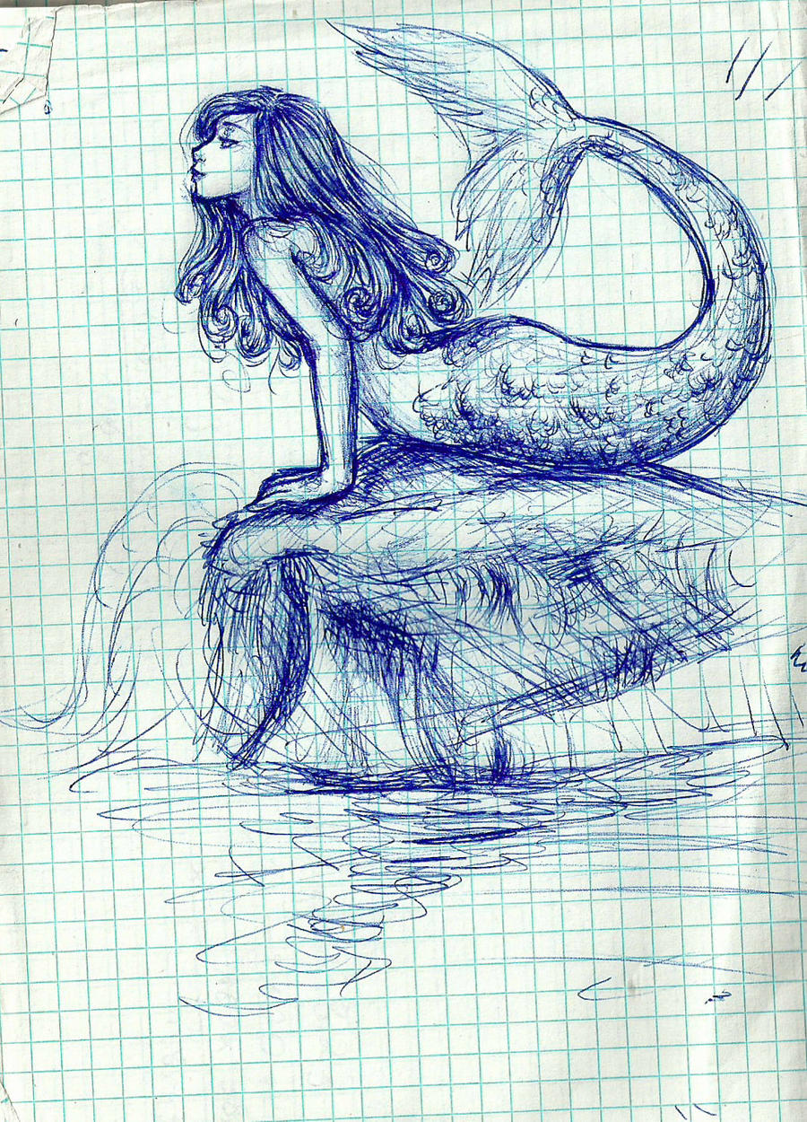 Pen sketch - Mermaid by m-angela on DeviantArt