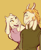 Young Asgore and Toriel by m-angela