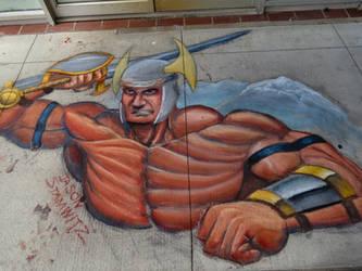 Random Viking Dude chalk art by JCSArtCan