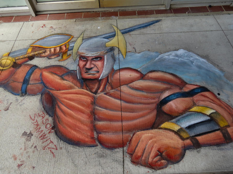 Random Viking Dude chalk art by JCSArtCan