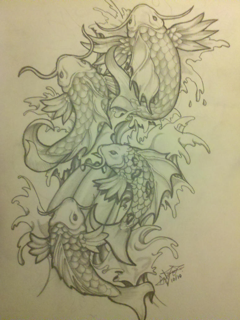 Koi fish tattoo drawing by abnormega art on deviantart for Koi fish drawings